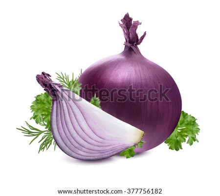 Red purple onion bulb herbs dill parsley composition isolated on white background as package design element - stock photo