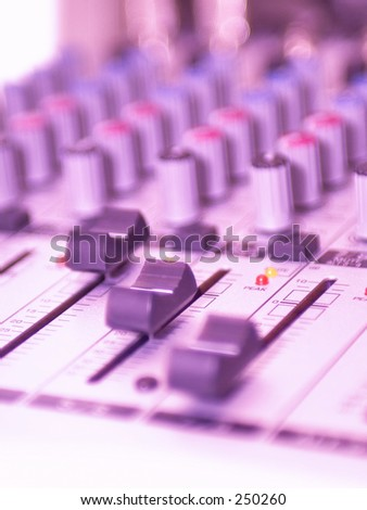 Red/Purple Video Mixing Desk Buttons, LED's and switches - stock photo