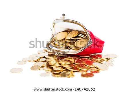 Red purse full of gold coins on a white background - stock photo