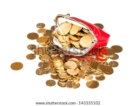 Red purse full of gold coins on a white background