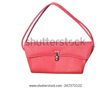 Red purse isolated on white background - stock photo