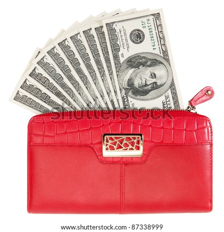 Red purse with dollars. isolated on white - stock photo