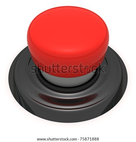 Red push button isolated - stock photo