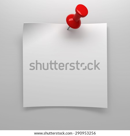 Red pushpin holding up blank note - stock photo