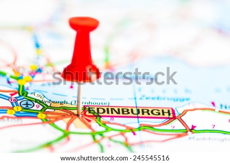 Red pushpin showing Edinburgh City On Map, Scotland, Travel Destination Concept - stock photo