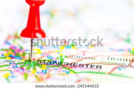 Red pushpin showing Manchester City On Map, United Kingdom, Travel Destination Concept - stock photo