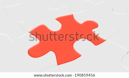 red puzzle element for use in presentations, manuals, design, etc. - stock photo