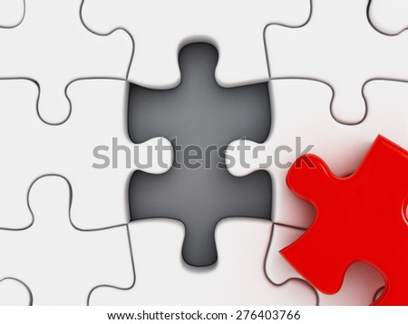 Red puzzle part missing among white puzzle parts - stock photo