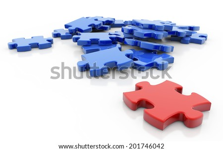 red puzzle piece opposite to a group of blue pieces - stock photo