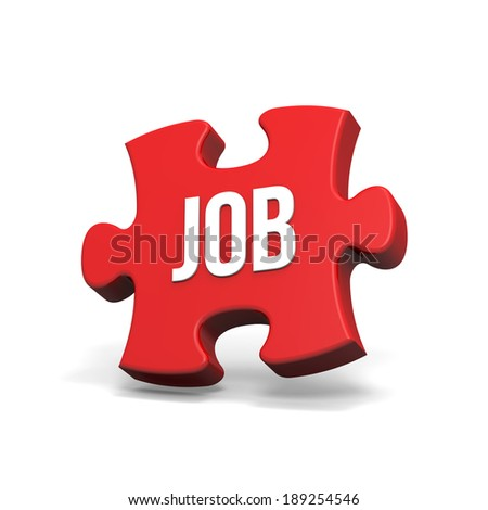 Red puzzle with job sign on white background - stock photo