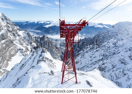 Red Pylon from an aerial tram system - stock photo