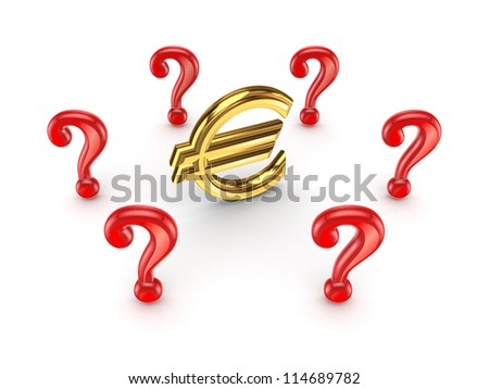 Red query marks around euro sign.Isolated on white background.3d rendered.