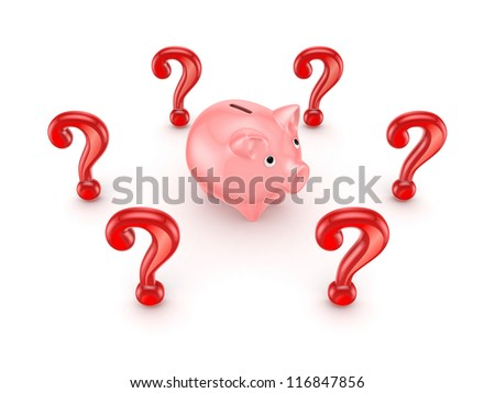 Red query marks around pink piggy bank.Isolated on white.3d rendered. - stock photo