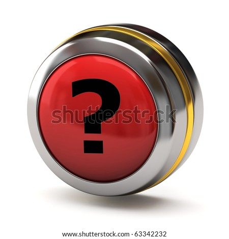 Red Question button - stock photo
