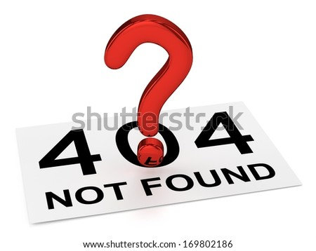 Red Question Point and Sheet (404 NOT FOUND) - stock photo