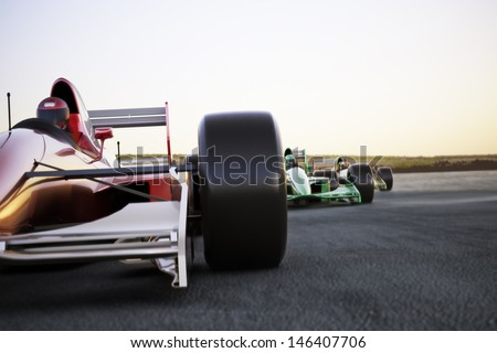 Red race car close up front view on a track leading the pack with motion Blur. High resolution 3d render. Room for text or copy space - stock photo