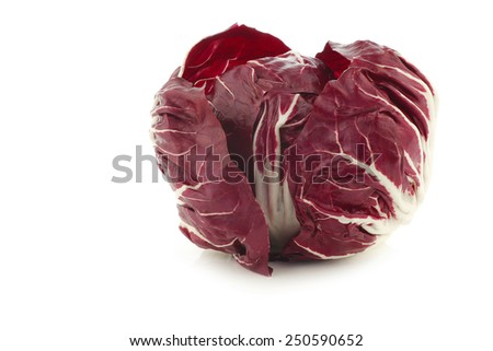 "red ""radicchio"" lettuce on a white background - stock photo"