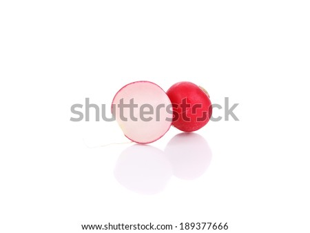 Red radish cut. Isolated on a white background. - stock photo
