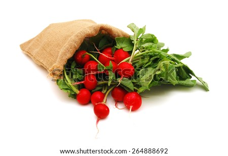 Red radish. Isolated in burlap over white background - stock photo