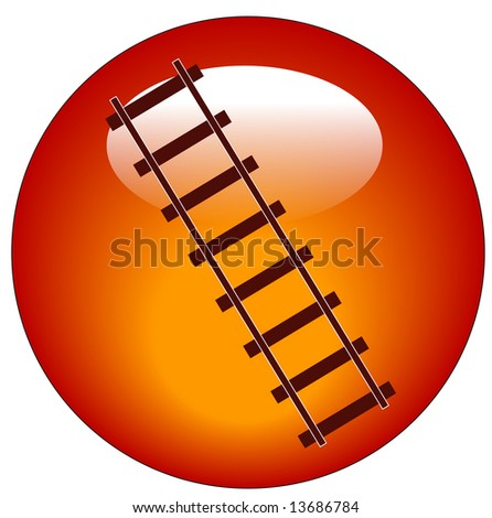 red railway track web button or icon - stock photo