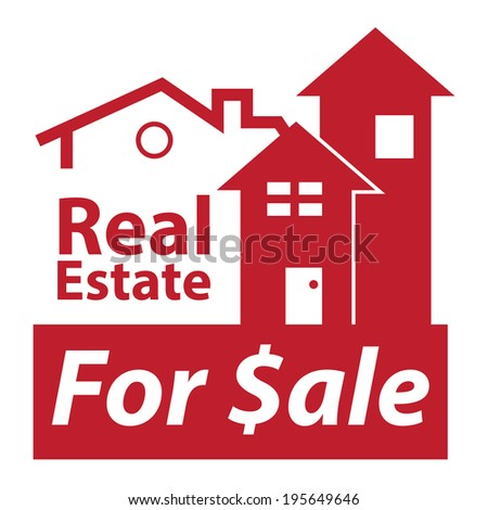 Red Real Estate for $ale Icon, Sign or Label Isolated on White Background  - stock photo
