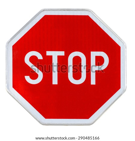 Red realistic stop road sign isolated on white - stock photo
