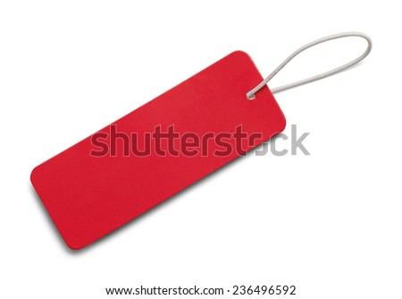 Red Rectangle Sales Tag Isolated on White Background.