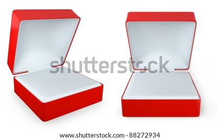 Red rectangular ring box isolated on white background,  two views - stock photo
