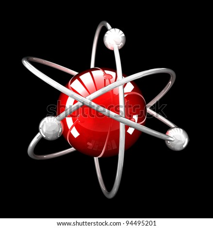 red reflective atomic structure  on black background - stock photo