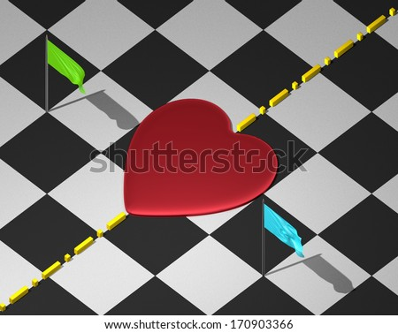 Red reflective heart on checkered textured surface with yellow divisional line and green and blue flags - stock photo