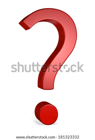 Red reflective shiny question mark isolated on white - stock photo