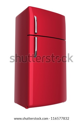 Red refrigerator - isolated on white background - stock photo