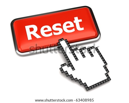 Red reset button and hand cursor - stock photo