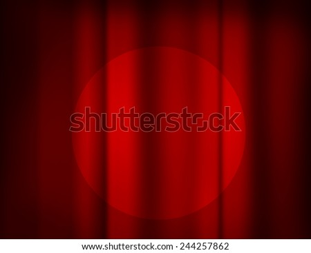 Red Retro Curtain with a Spotlight, Theater Scene - stock photo