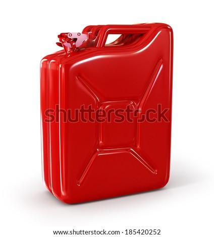 Red retro jerrican isolated - stock photo