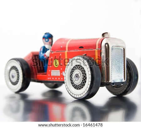 red retro race car - stock photo