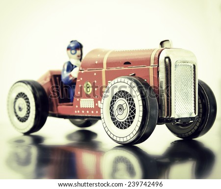 red retro race car - stock photo
