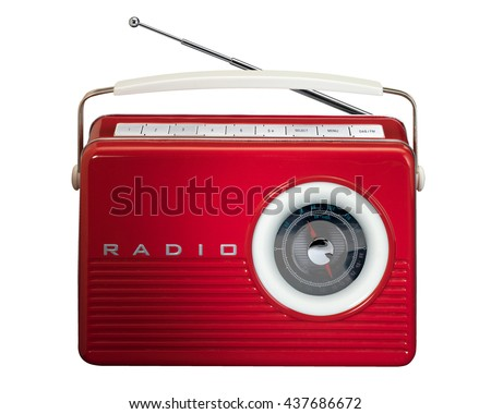 Red retro radio on white background