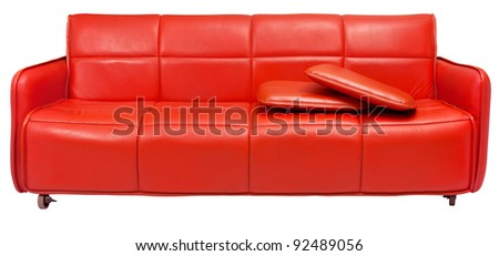 Red Retro Sofa With Wheels