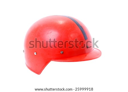 Red retro style motorcycle helmet
