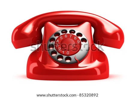 Red retro telephone, front view. Isolated. My own design - stock photo