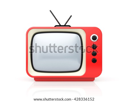 Red retro TV. 3d illustration - stock photo