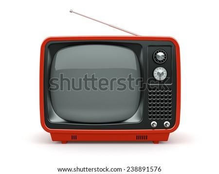 Red retro TV on white background  - stock photo