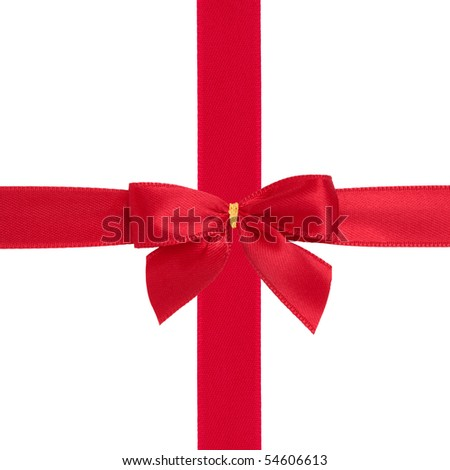 Red ribbon and bow gift box wrapping  isolated over white background.