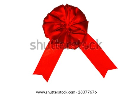 Red ribbon award blank with copy space. Isolated on white background with clipping path. - stock photo