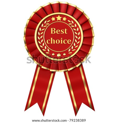 Red Ribbon Award isolated on white background. - stock photo