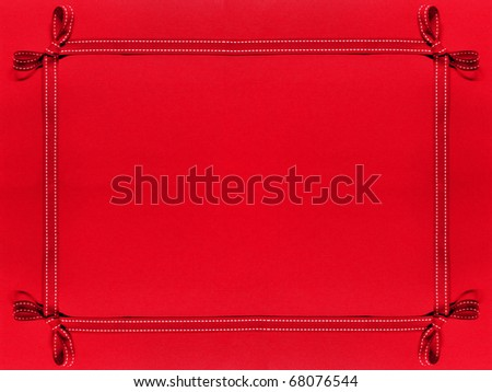 Red ribbon border on red patterned background - stock photo