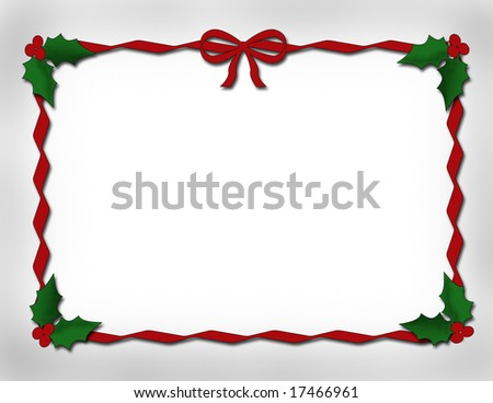 red ribbon border with holly and berries .jpg with copy space