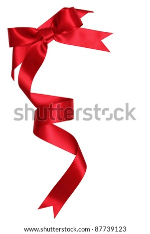 Red ribbon bow isolated on white - stock photo