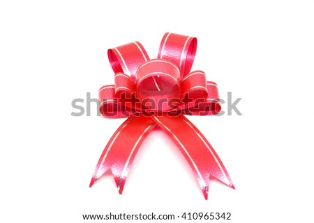 Red ribbon bow. Isolated on white background - stock photo